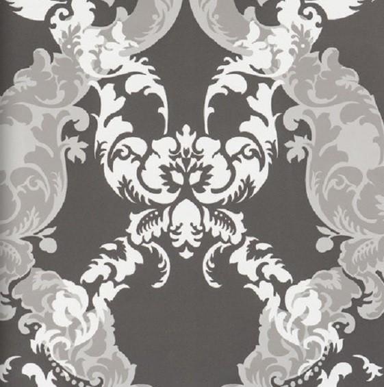 Vliestapete Barock Muster Ornament anthrazit grau