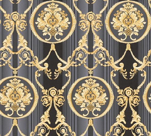 Vliestapete klassischer Barock schwarz gold metallic