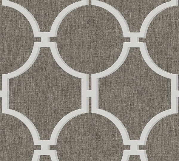 Vliestapete Vintage Grafik Kreise braun grau Elegance