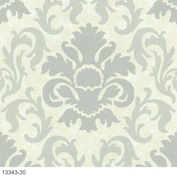 Luxus Vliestapete Barock Ornament creme grau Glitzer