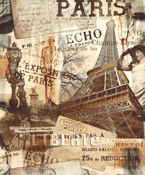 Vliestapete Stadtmotiv Paris Eifelturm rost beige braun 2102