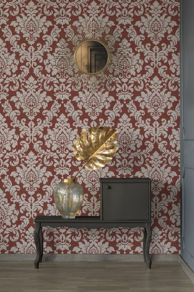 Barock Ornament Vliestapete rot beige Glitzer