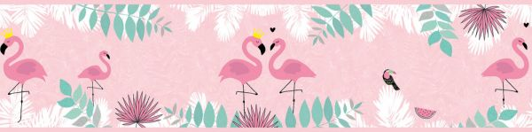 Selbstklebende Bordüre rosa Flamingos 5,00m x 0,155m