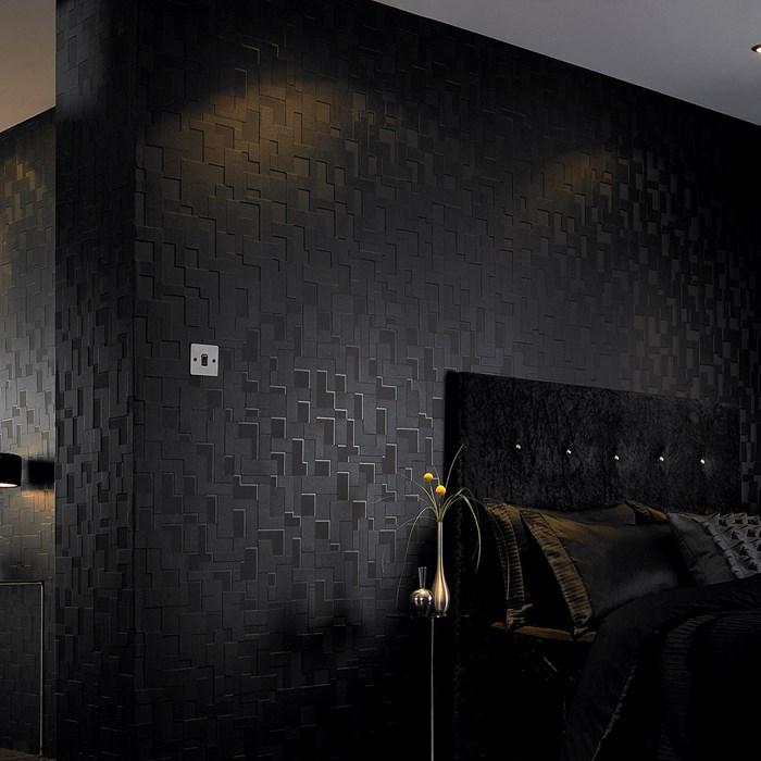 vlies tapete struktur schwarz kariert seidengl nzend geometrisch 30 178 joratrend tapetenshop. Black Bedroom Furniture Sets. Home Design Ideas