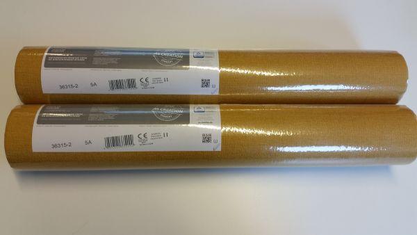 2 Restrollen Uni Vlies Tapete Textil Optik gelb Palila