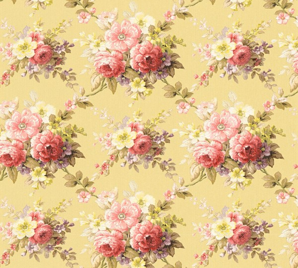 Vliestapete Blumen Bouquet gelb rot Chateau 5