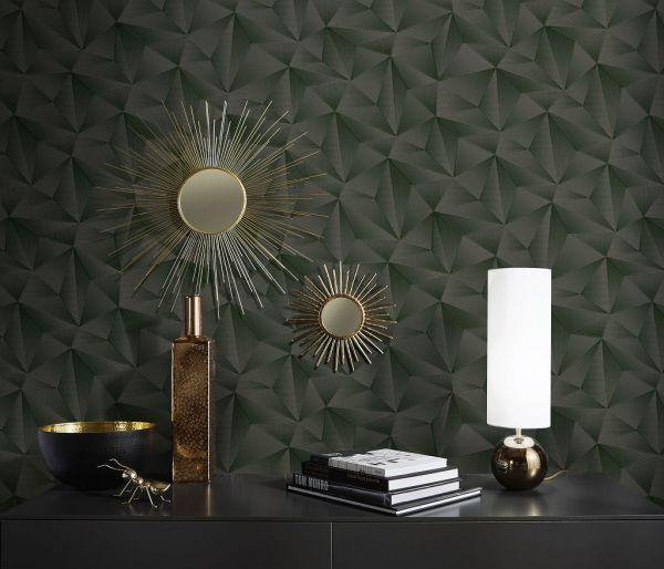 Vliestapete Design 3D Optik schwarz metallic Schimmer geometrisch