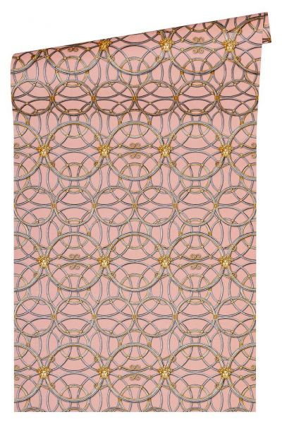 Tapete grafische Kreise Medusa rosa grau gold metallic Versace