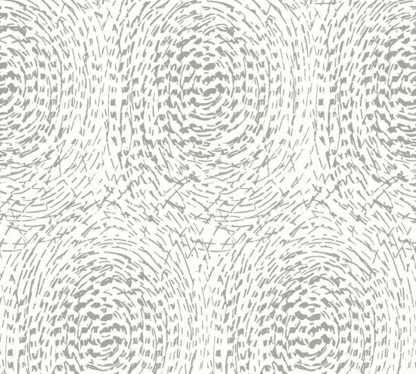 Vlies Tapete grafische abstrakte Kreise weiß grau metallic