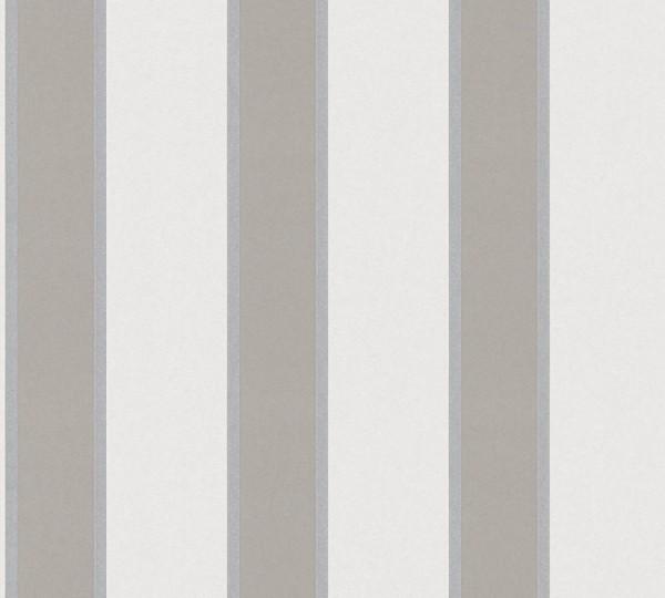 Vlies Tapete Streifen taupe grau metallic