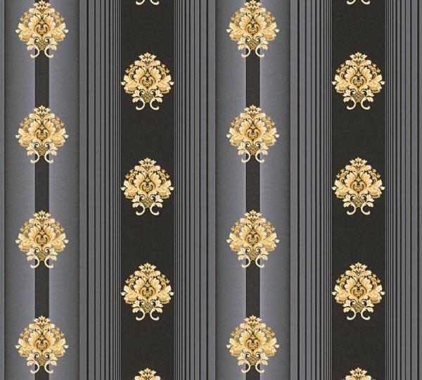 Vliestapete Streifen Barock Floral schwarz gold