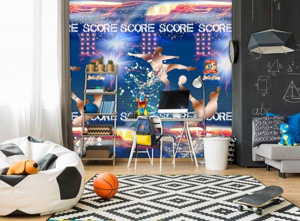 Vlies Fototapete Fußball Score Tapete blau Wandbild 200 x 300cm
