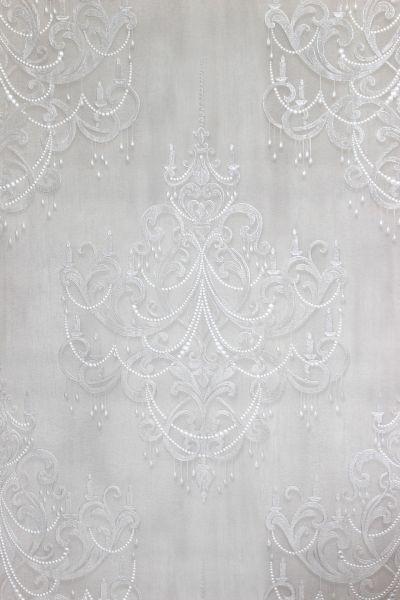 Vliestapete Kronleuchter Barock Ornament Perlen Muster klassisch creme weiß