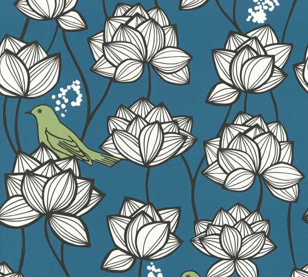 Vliestapete Blumen Vögel blau weiß grün