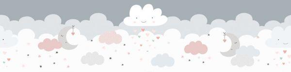 Selbstklebende Bordüre süßer Wolkenhimmel grau rosa 5,00m x 0,155m
