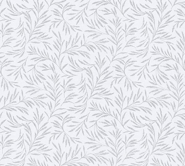 Vliestapete Blätter Zweige weiß grau glanz