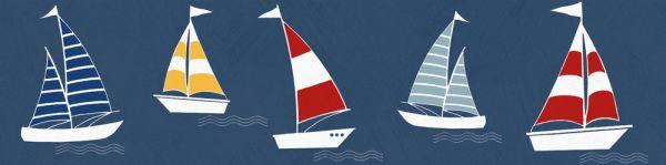 Selbstklebende Bordüre bunte Segelboote 5,00m x 0,155m