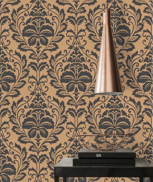 Vliestapete Barock Ornament schwarz gold metallic