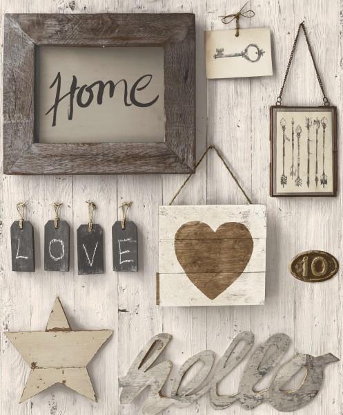 Vliestapete Antik Holz Home grau beige