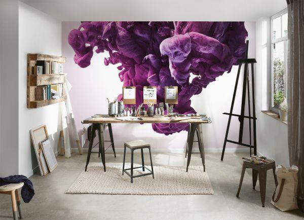 Fototapete Digitaldruck 3D abstrakte Kunst Rauch lila 255 x 350 cm