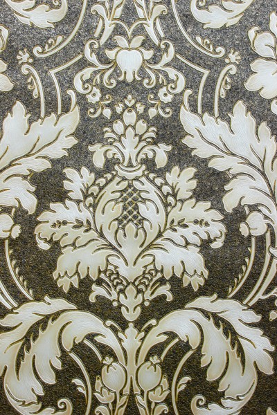 Hochwertige Vliestapete Barock Ornament schwarz gold