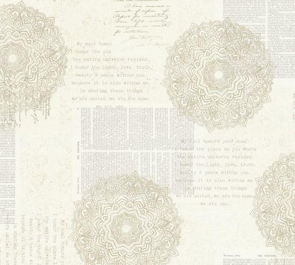 Vliestapete Mandala Ornament Schrift Ethno creme beige