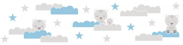 Selbstklebende Bordüre Bärchen Himmel Sterne grau blau 5,00m x 0,155m