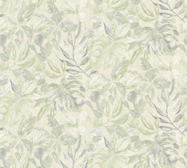 Vliestapete Floral Blätter creme grün Aloha Großrolle