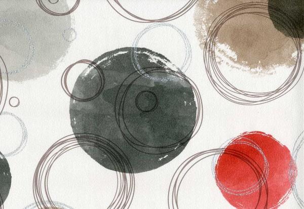 Vliestapete Retro Kreise rot schwarz