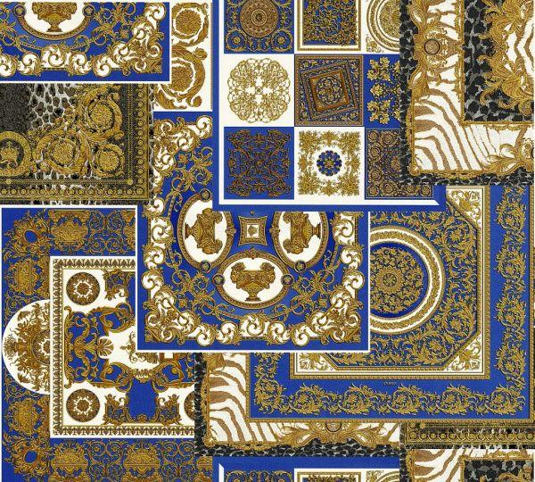 Versace 4 Patchwork Ornament Kacheln Tapete blau metallic