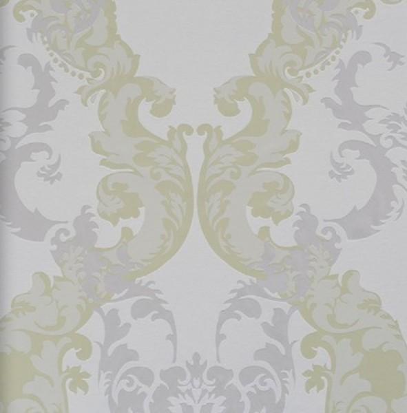 Vliestapete Barock Muster Ornament weiß grün silber