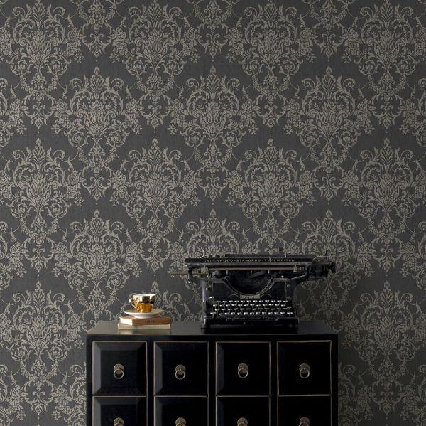 Viktorianische Barock Vlies Tapete schwarz weiß gold