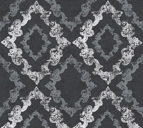 Vliestapete Barock Ornament Glitzer schwarz