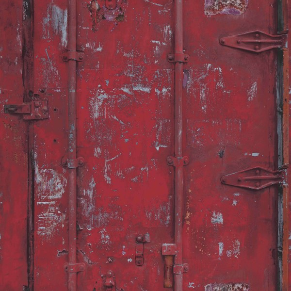 Vliestapete Stahl Container Optik rot