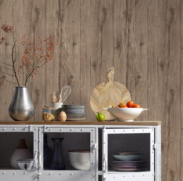 Vliestapete Antik Holz rustikal braun verwittert shabby Landhaus