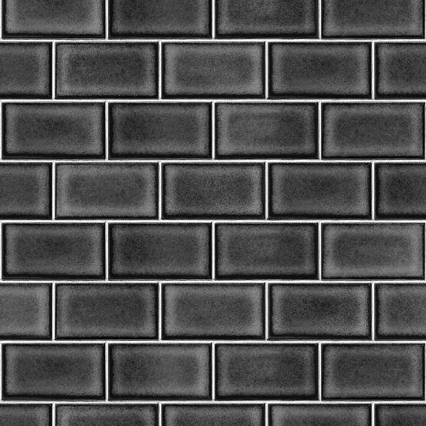 Vliestapete Kacheln Ziegelstein Fliesen Optik schwarz