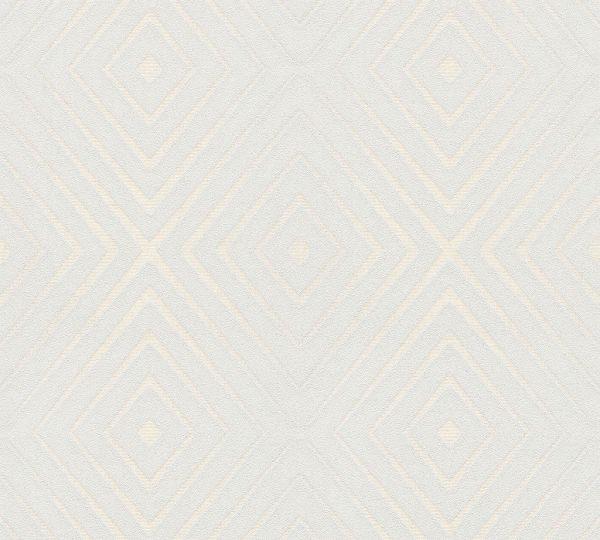 Vliestapete geometrische Rauten blau creme