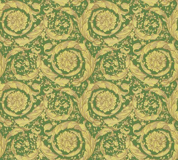 Versace 4 Vliestapete Kreis Ornament grün gelb metallic