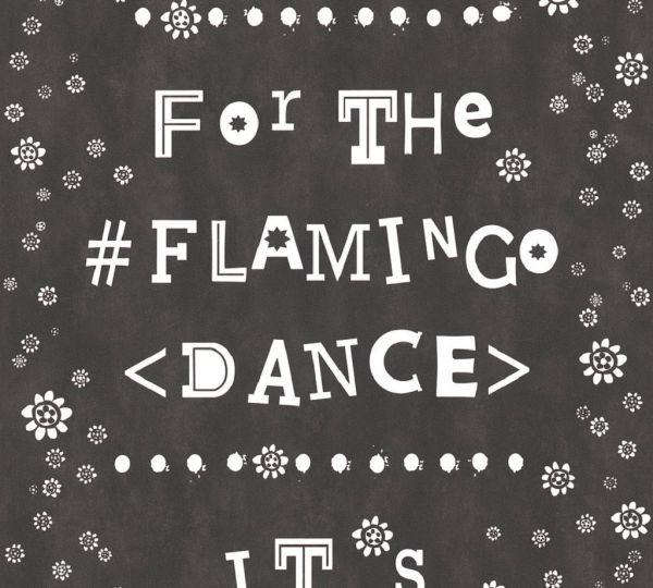 Vliestapete Blümchen Flamingo Dance Schrift schwarz weiß