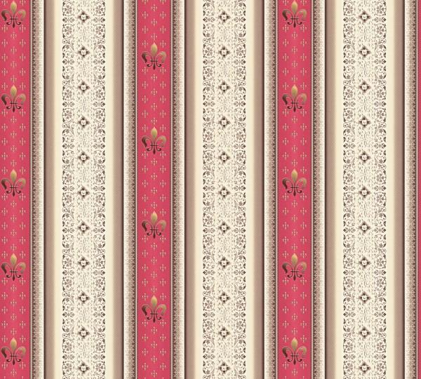 Vliestapete Streifen Heraldik Lilie rot metallic