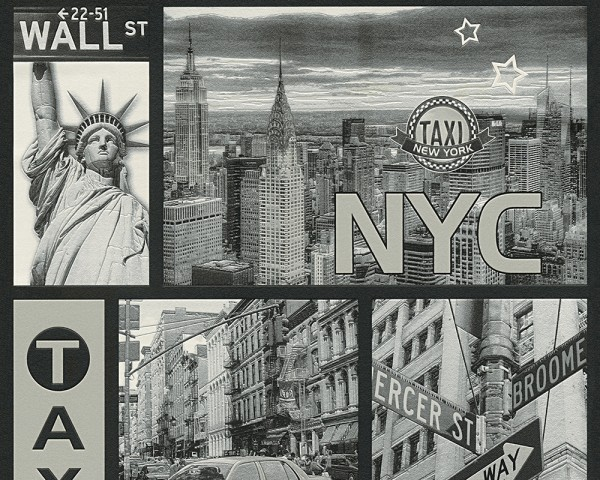 Vinyl Tapete New York City NYC Stadtmotiv Taxi Wallstreet silber grau Jugend Stil