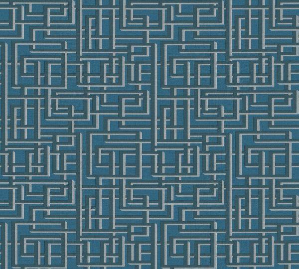 Labyrinth Grafik Vlies Tapete petrol blau grau