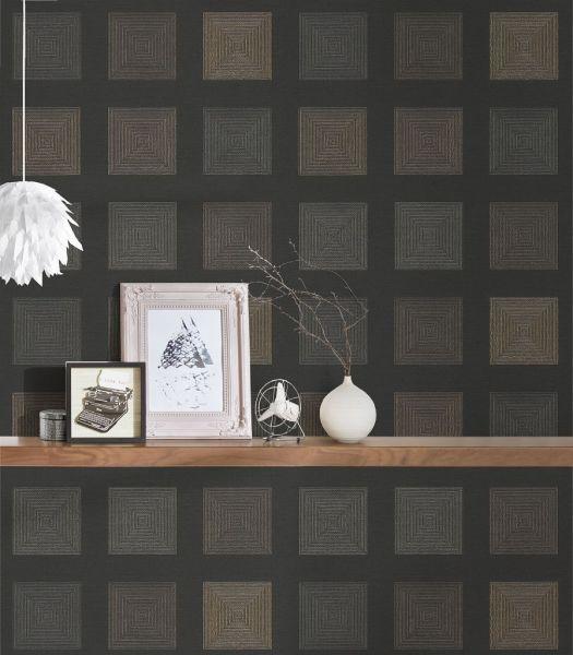 Vliestapete 3D Quadrate schwarz braun