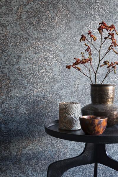 Vliestapete Textil Optik ornamentale Kreise grau metallic