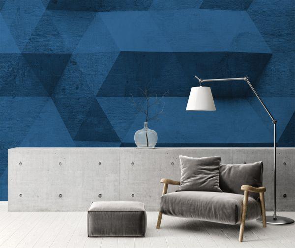 Fototapete Digitaldruck 3d Betonwand blau 255 x 350 cm