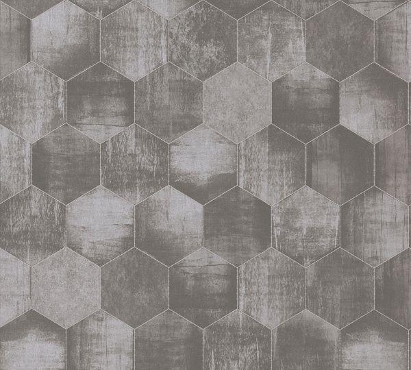 Vliestapete Hexagon Muster grafisch Waben taupe grau
