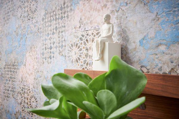 Vliestapete Vintage Fliesen Ornament orientalisch beige blau