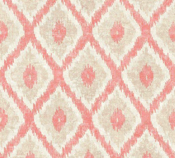 Vliestapete Ethno Muster Rauten rot beige