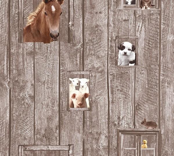 Kinder Vliestapete Bauernhof Tiere Holz braun