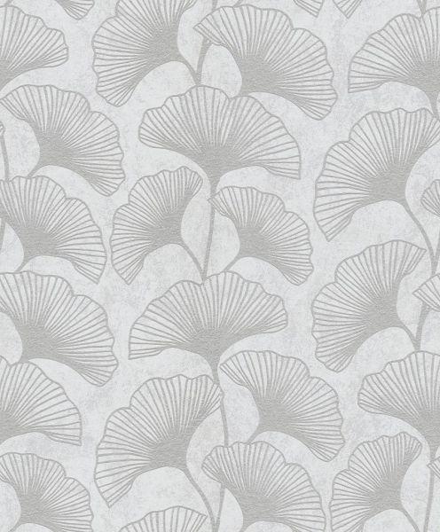 Vliestapete Carat Ranken Ginkgo Blätter weiß grau glänzend